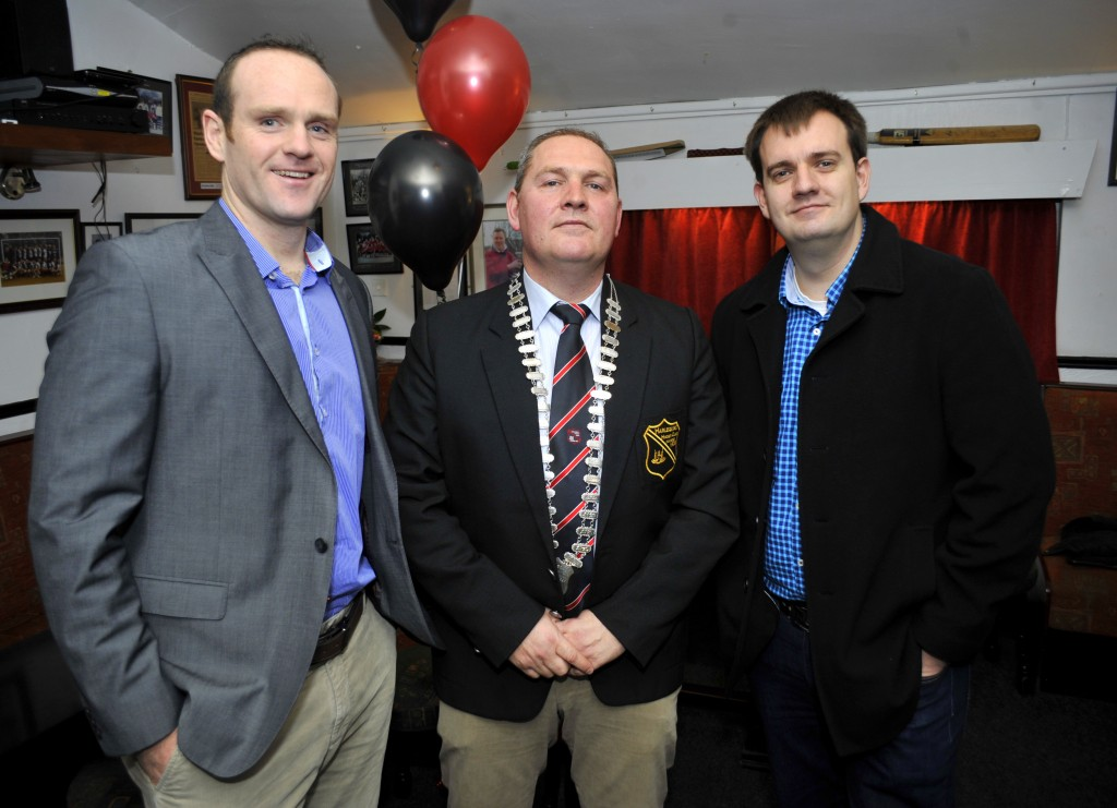Pictured at the Cork Harlequins 90 years celebration anniversary at Cork Harlequins Club, Farmers Cross were, John Hobbs from Waterfall, Stephen Dale, Pres. Harlequins Club and Robert O'Sullivan from Blackrock. Pic: Gavin Browne