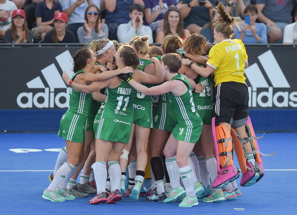 2018 Vitality Hockey Women's World Cup Quarter-Final, Lee Valley Stadium, London, England 2/8/2018 Ireland vs India Ireland celebrate winning the shootout Mandatory Credit ©INPHO/Joe Toth